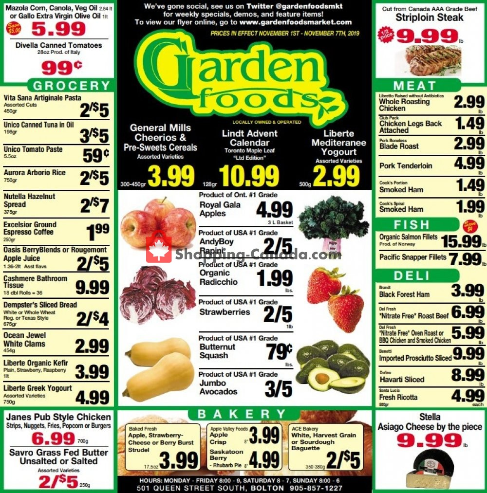 Flyer Garden Foods Canada - from Friday November 1, 2019 to Thursday November 7, 2019