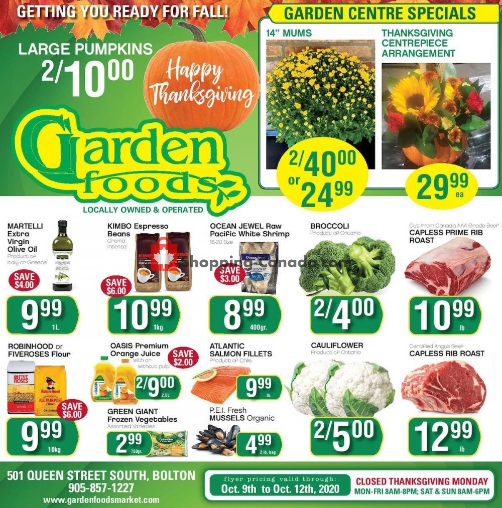 Flyer Garden Foods Canada - from Friday October 9, 2020 to Monday October 12, 2020