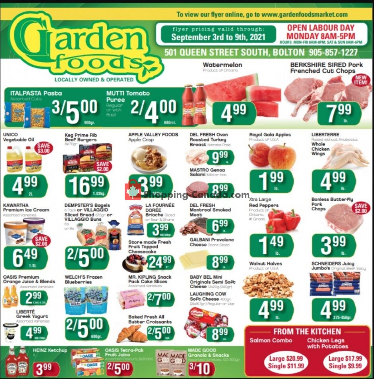 Flyer Garden Foods Canada - from Friday September 3, 2021 to Thursday September 9, 2021