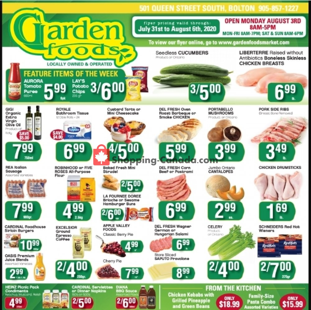 Flyer Garden Foods Canada - from Friday July 31, 2020 to Thursday August 6, 2020
