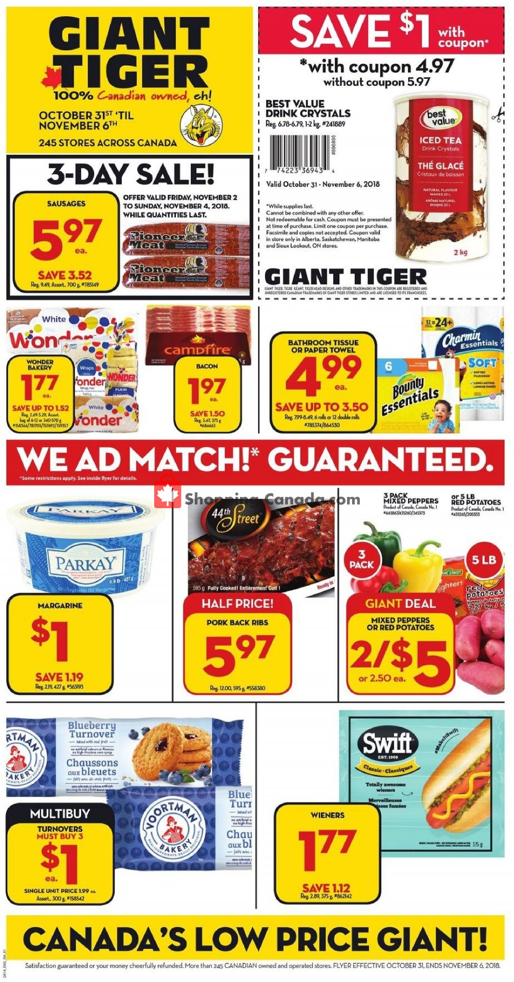 Flyer Giant Tiger Canada - from Wednesday October 31, 2018 to Tuesday November 6, 2018