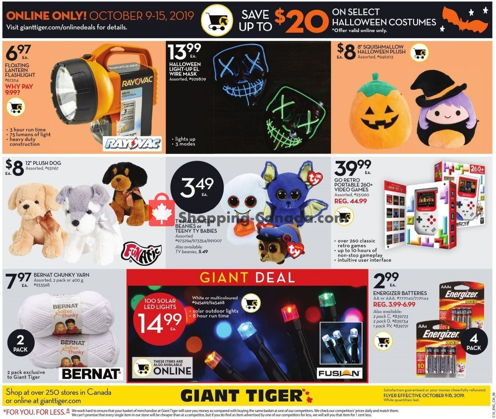 Flyer Giant Tiger Canada - from Wednesday October 9, 2019 to Tuesday October 15, 2019