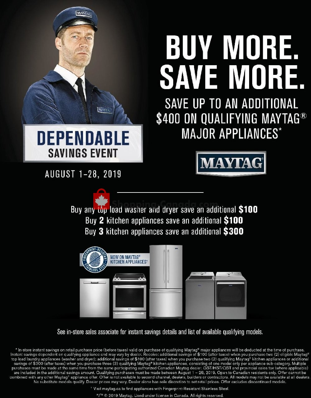 Flyer GOEMANS APPLIANCES Canada - from Thursday August 1, 2019 to Wednesday August 28, 2019