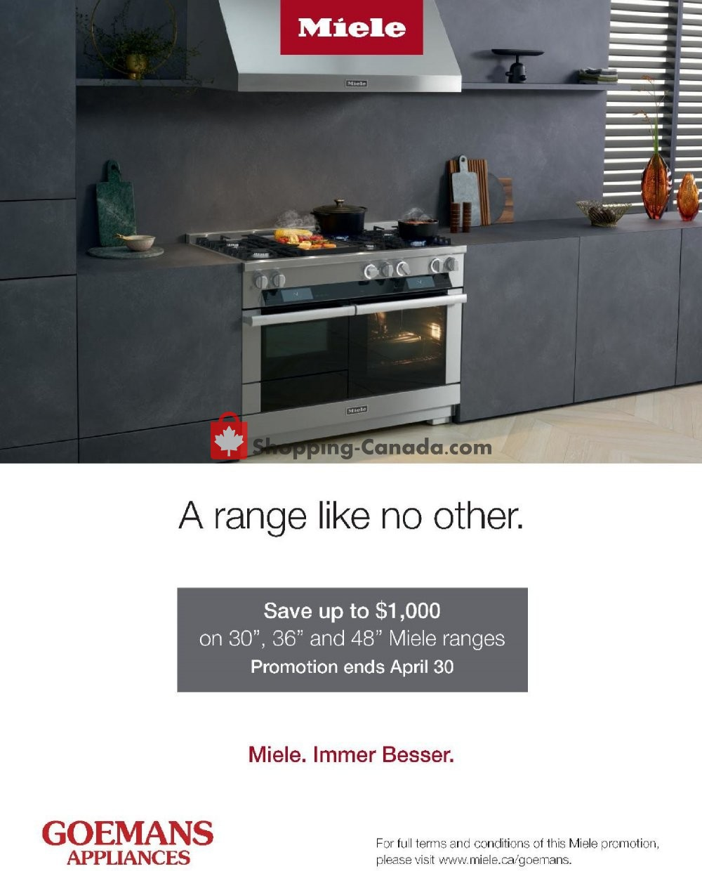 Flyer GOEMANS APPLIANCES Canada - from Sunday March 1, 2020 to Thursday April 30, 2020