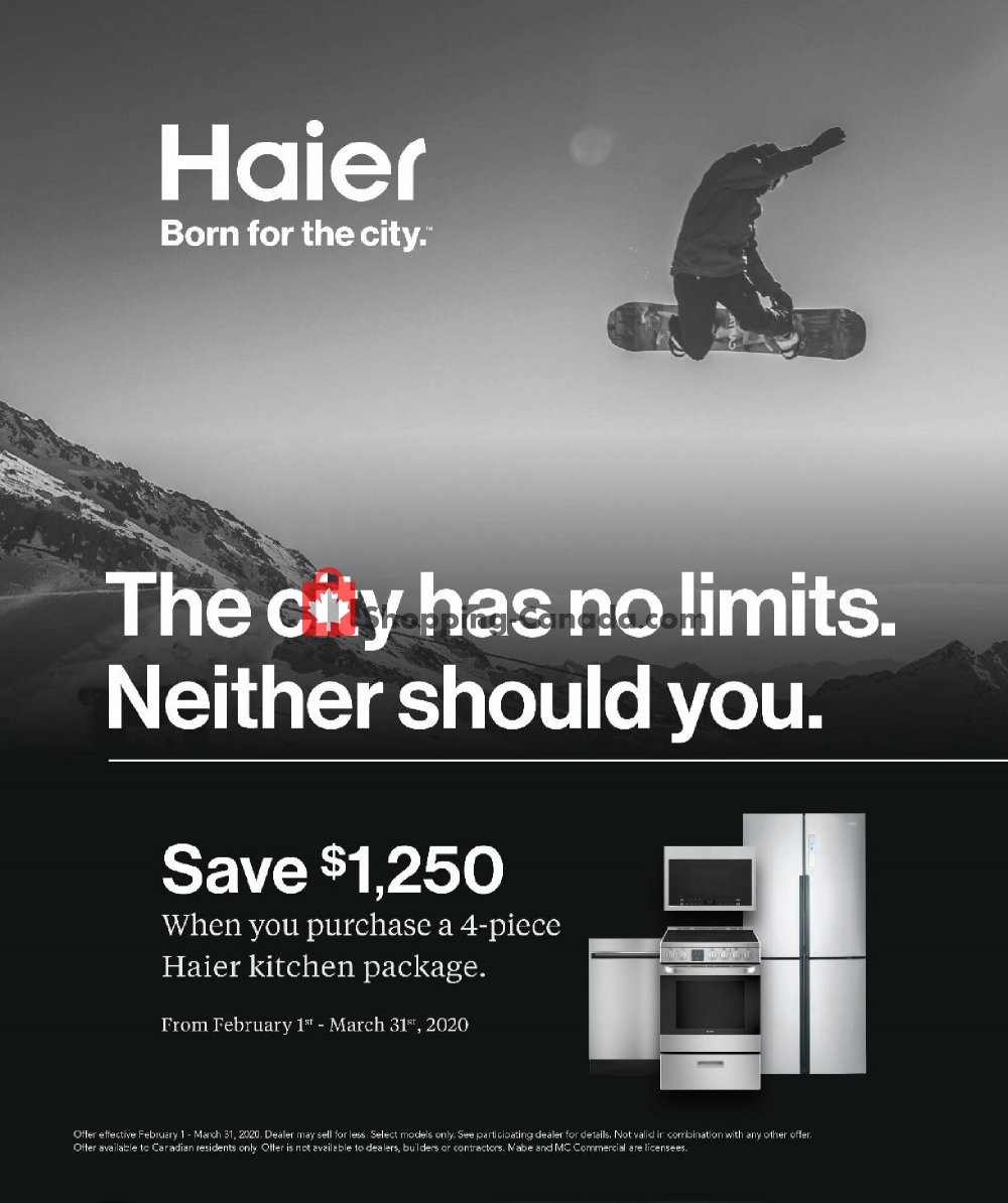 Flyer GOEMANS APPLIANCES Canada - from Saturday February 1, 2020 to Tuesday March 31, 2020
