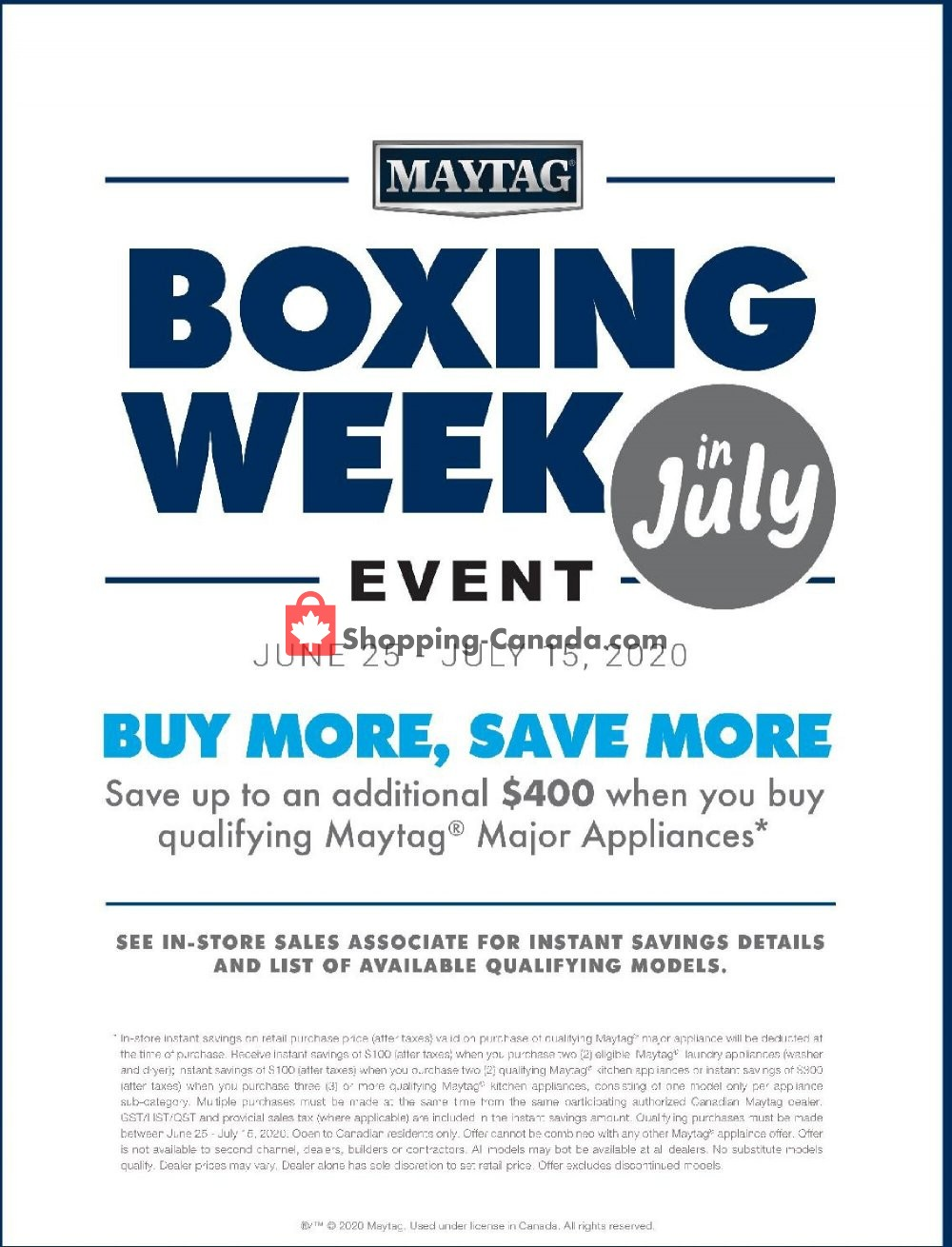 Flyer GOEMANS APPLIANCES Canada - from Thursday June 25, 2020 to Wednesday July 15, 2020