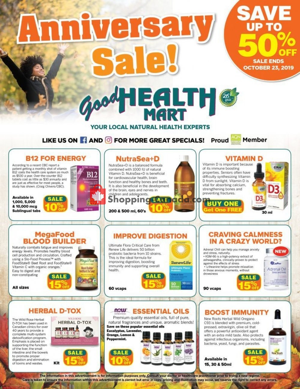 Flyer Good Health Mart Canada - from Thursday October 3, 2019 to Wednesday October 23, 2019