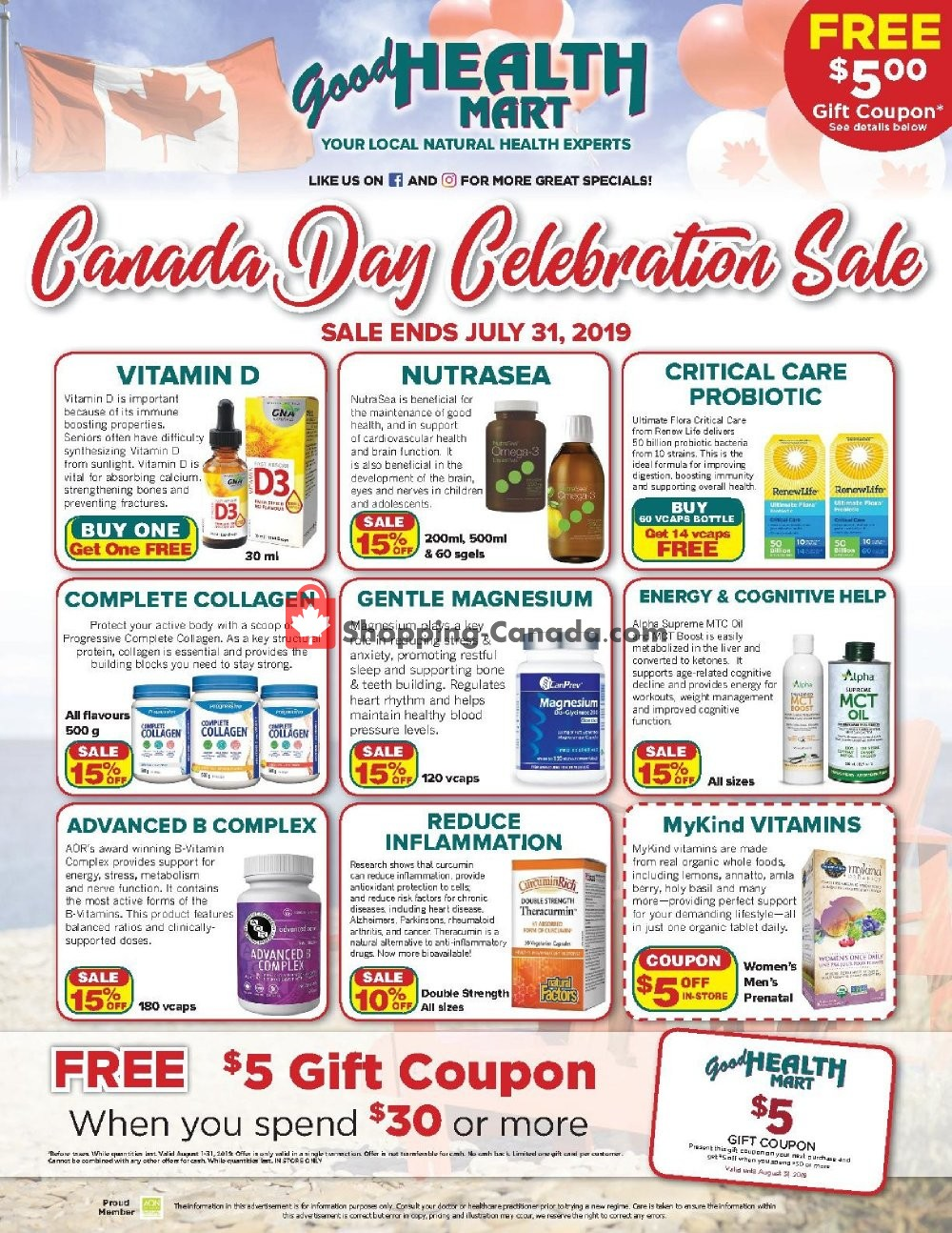 Flyer Good Health Mart Canada - from Monday July 1, 2019 to Wednesday July 31, 2019
