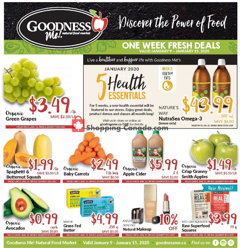 Flyer Goodness Me Canada - from Thursday January 9, 2020 to Wednesday January 15, 2020
