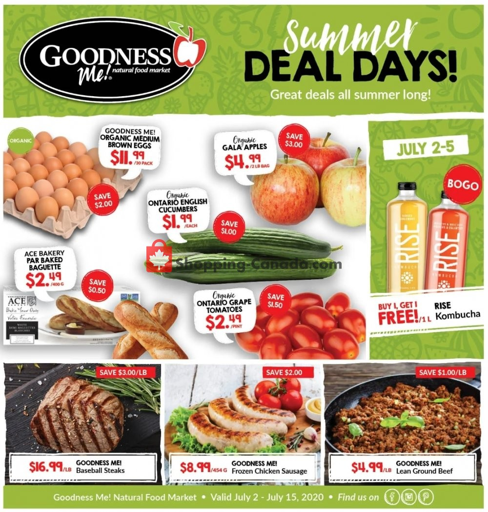 Flyer Goodness Me Canada - from Thursday July 2, 2020 to Wednesday July 15, 2020
