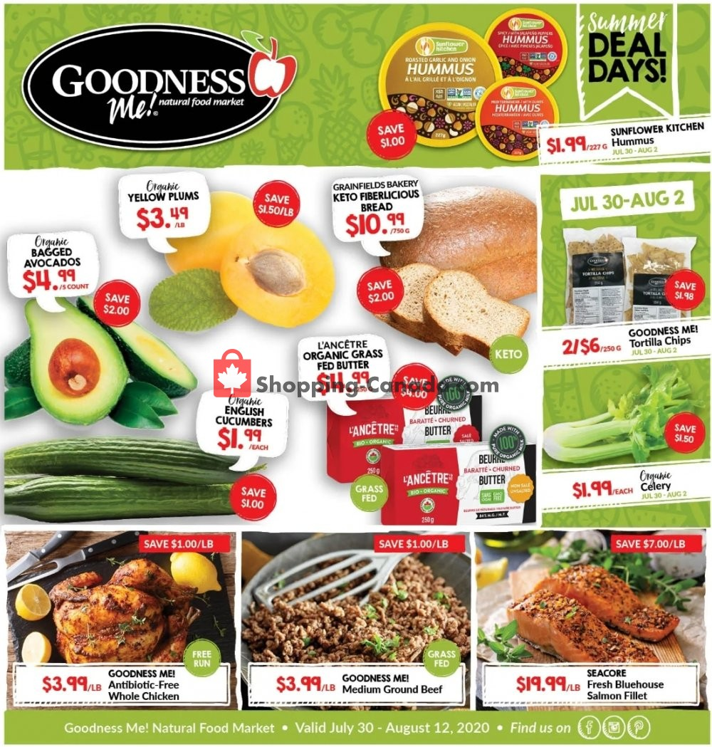 Flyer Goodness Me Canada - from Thursday July 30, 2020 to Wednesday August 12, 2020
