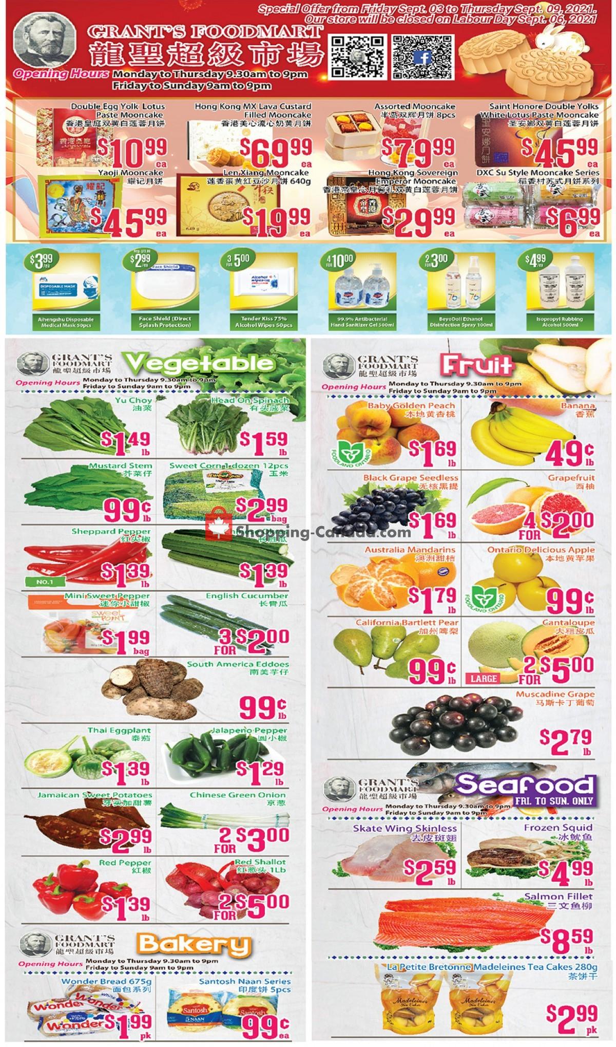 Flyer Grant's Foodmart Canada - from Friday September 3, 2021 to Thursday September 9, 2021