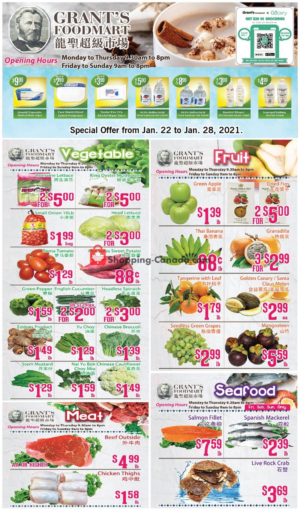 Flyer Grant's Foodmart Canada - from Friday January 22, 2021 to Thursday January 28, 2021