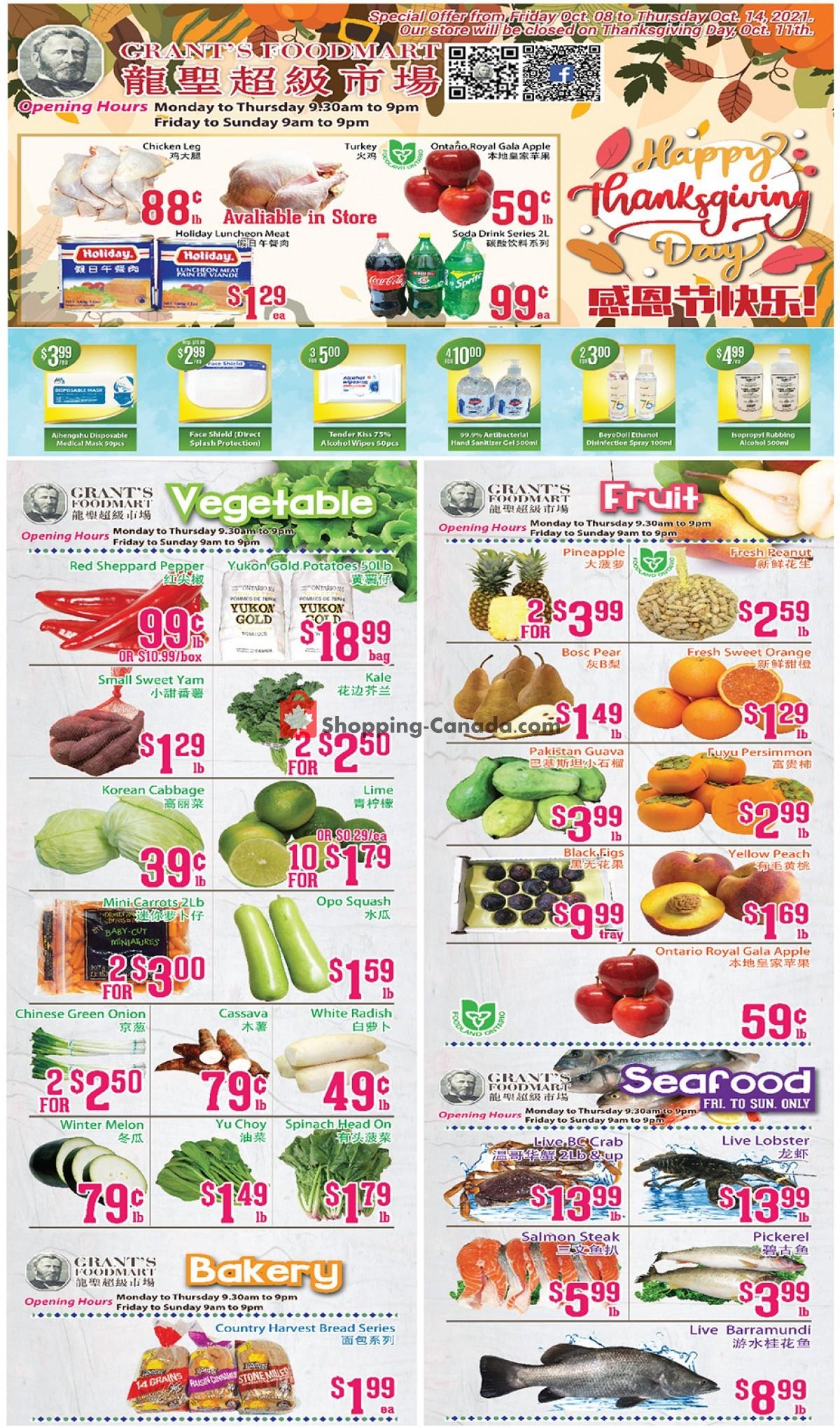 Flyer Grant's Foodmart Canada - from Friday October 8, 2021 to Thursday October 14, 2021
