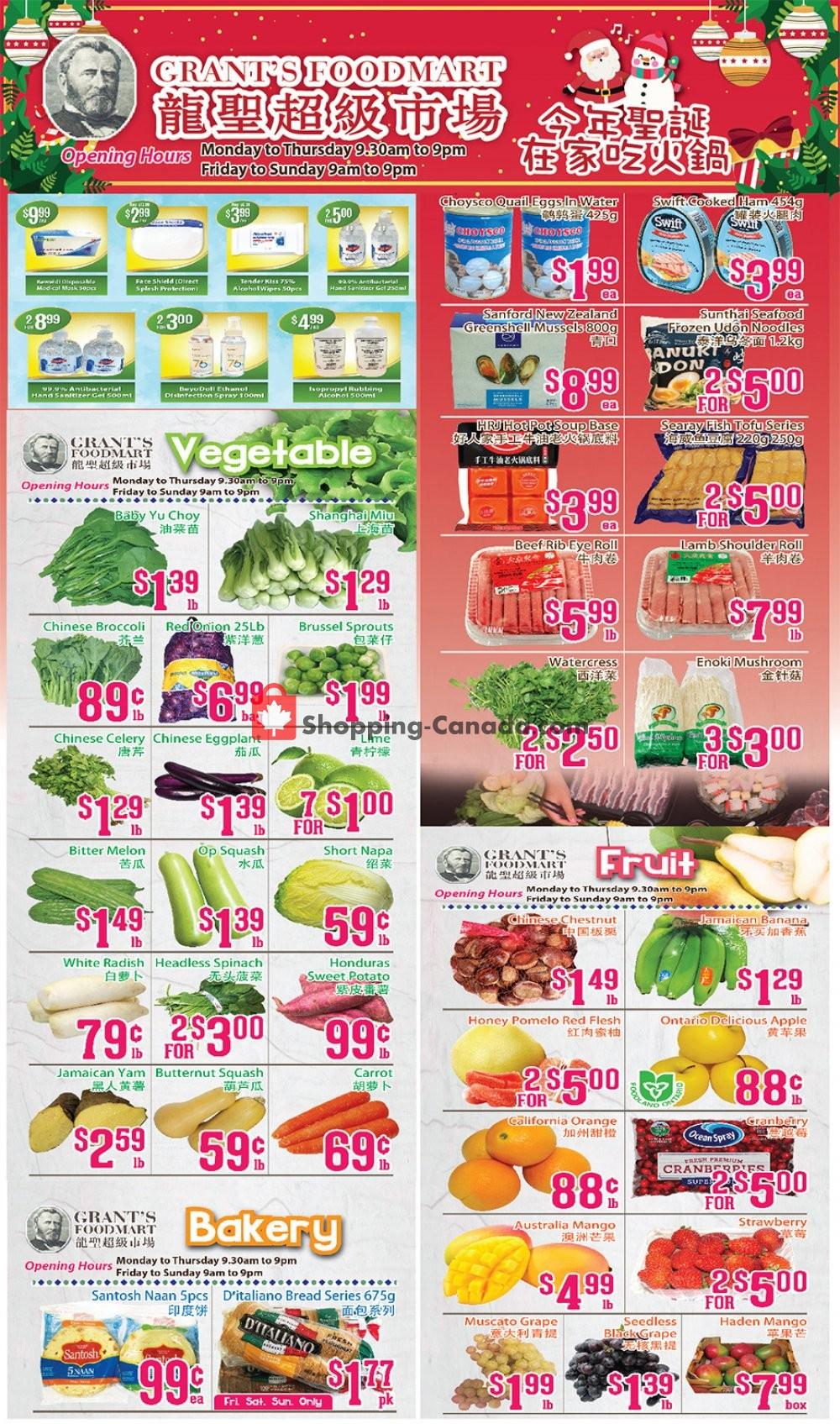 Flyer Grant's Foodmart Canada - from Friday December 18, 2020 to Thursday December 24, 2020