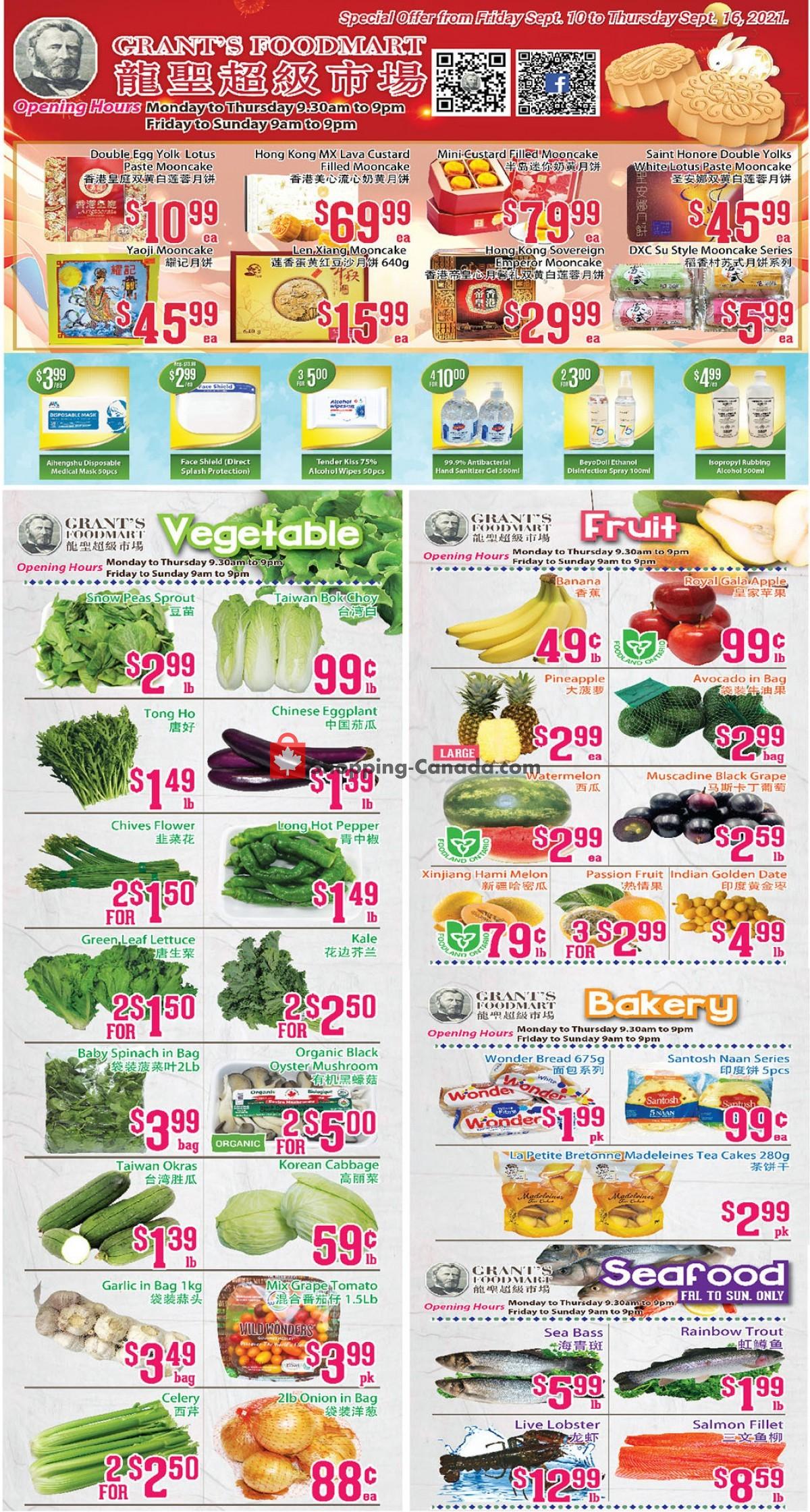 Flyer Grant's Foodmart Canada - from Friday September 10, 2021 to Thursday September 16, 2021