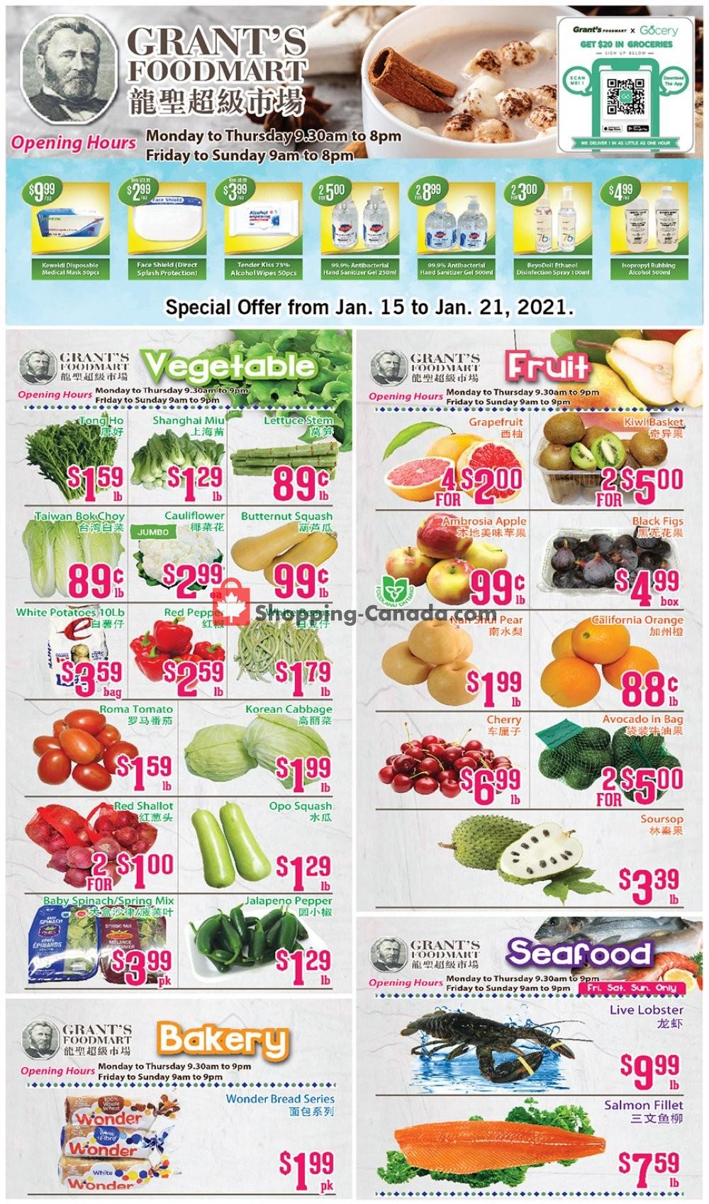 Flyer Grant's Foodmart Canada - from Friday January 15, 2021 to Thursday January 21, 2021
