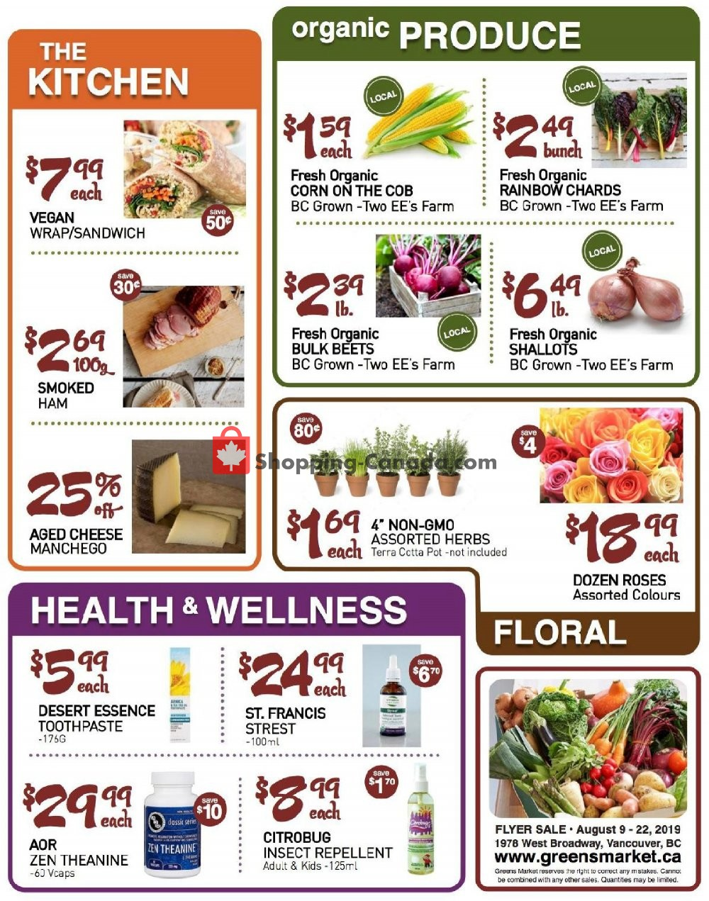 Flyer Greens Market Canada - from Friday August 9, 2019 to Thursday August 22, 2019