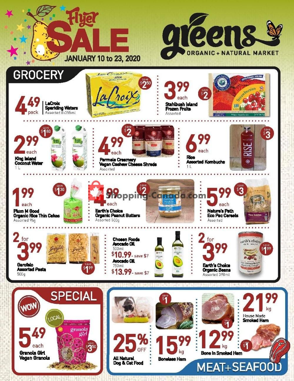 Flyer Greens Market Canada - from Friday January 10, 2020 to Thursday January 23, 2020