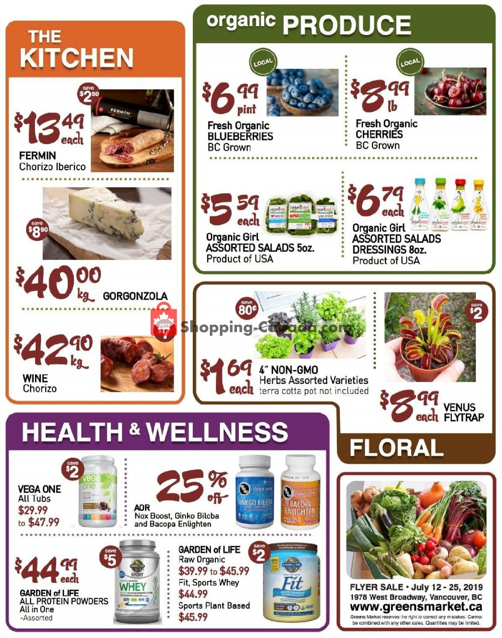 Flyer Greens Market Canada - from Friday July 12, 2019 to Thursday July 25, 2019