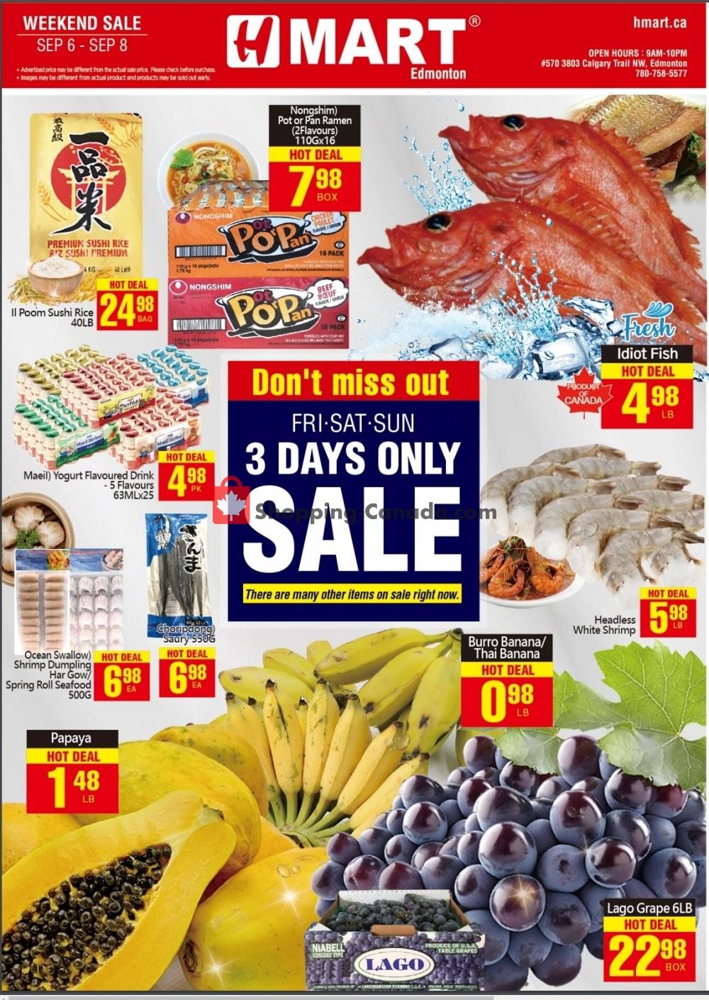 Flyer H-Mart Canada - from Friday September 6, 2019 to Sunday September 8, 2019