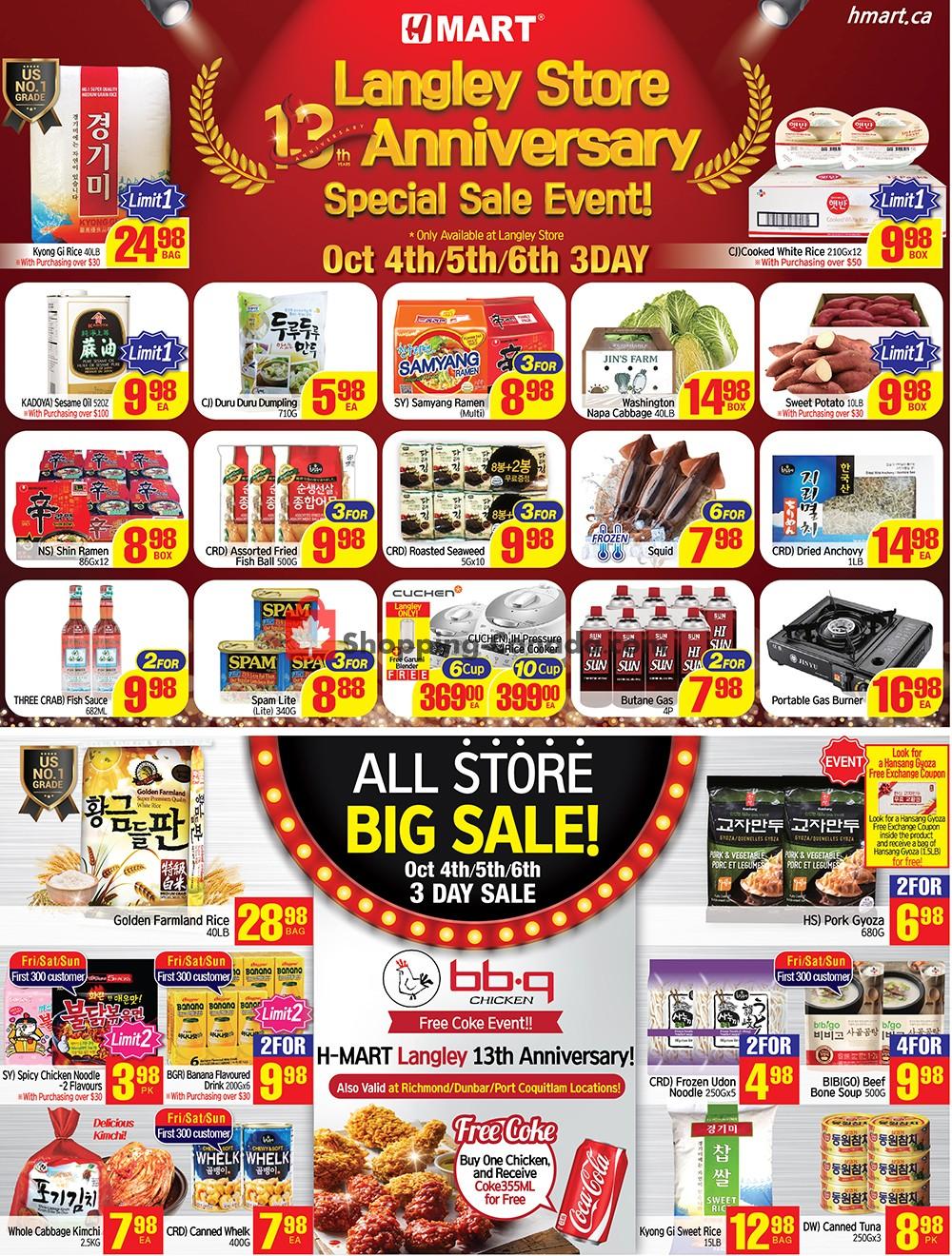 Flyer H Mart Canada - from Friday October 4, 2019 to Thursday October 10, 2019
