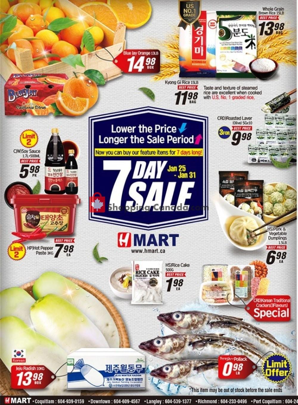 Flyer H Mart Canada - from Friday January 25, 2019 to Thursday January 31, 2019