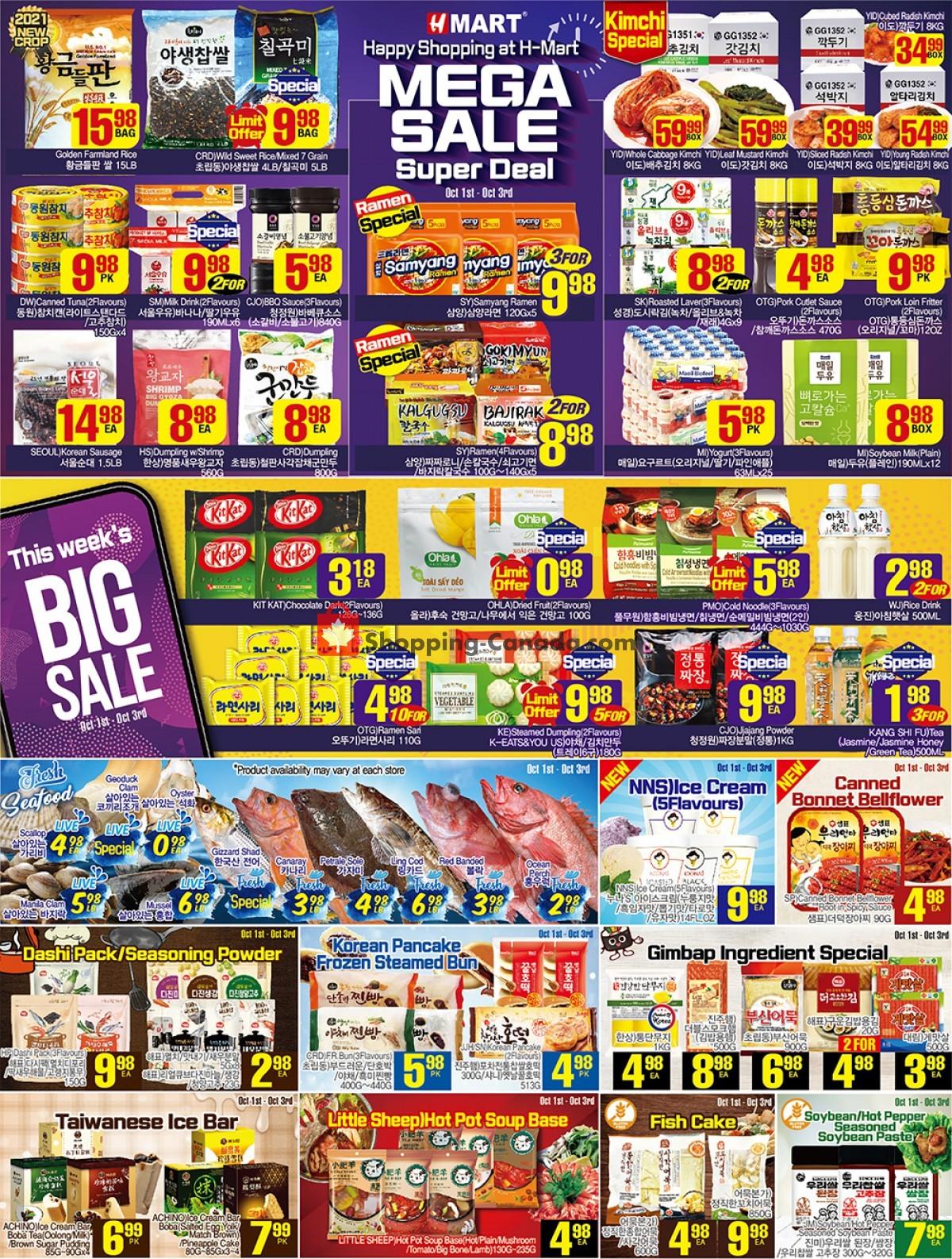 Flyer H-Mart Canada - from Friday October 1, 2021 to Thursday October 7, 2021