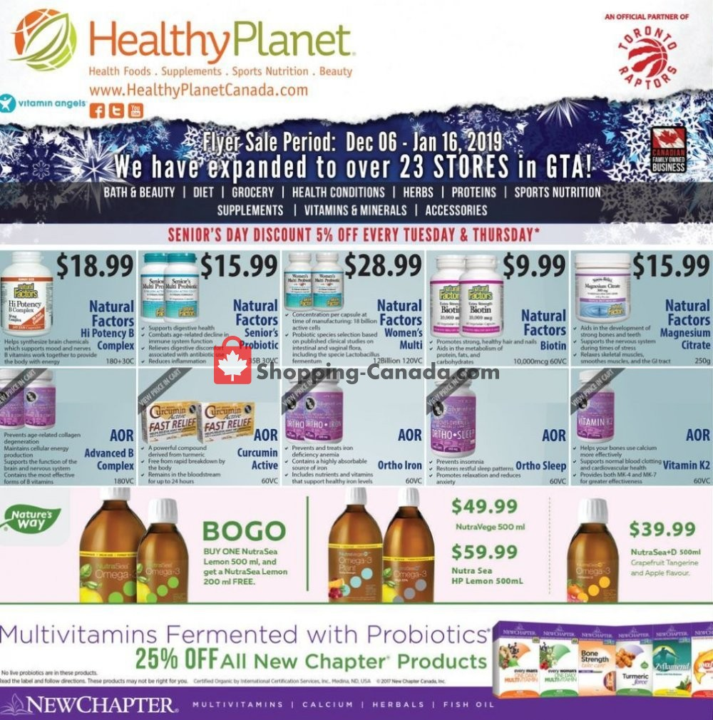 Flyer and weekly ads: Healthy Planet Canada - from Monday, December