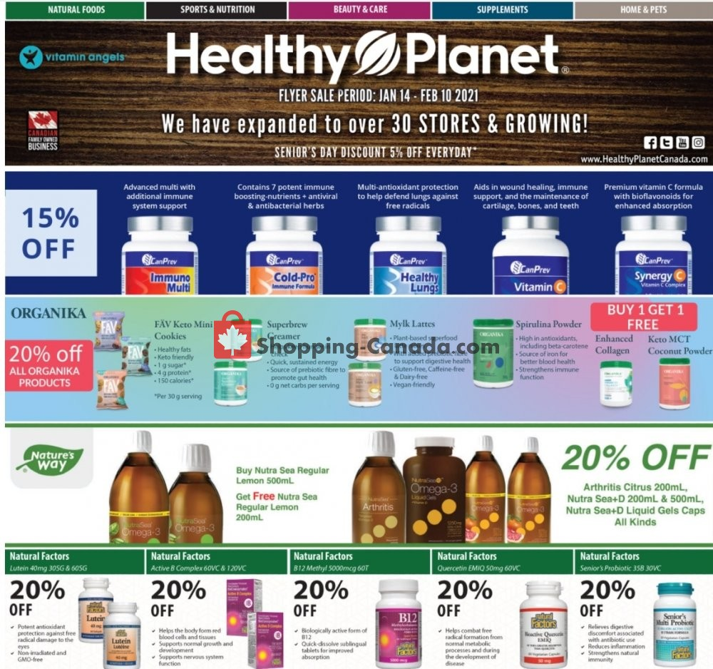 Flyer Healthy Planet Canada - from Thursday January 14, 2021 to Wednesday February 10, 2021
