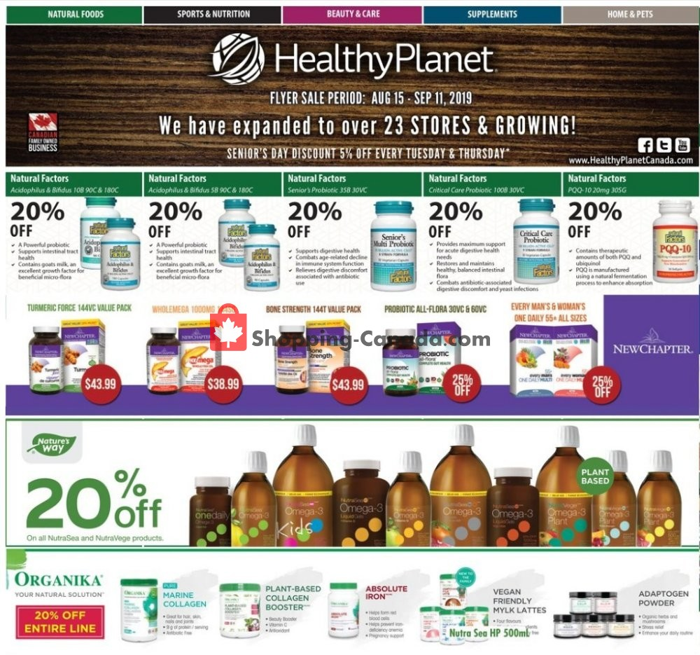 Flyer Healthy Planet Canada - from Thursday August 15, 2019 to Wednesday September 11, 2019