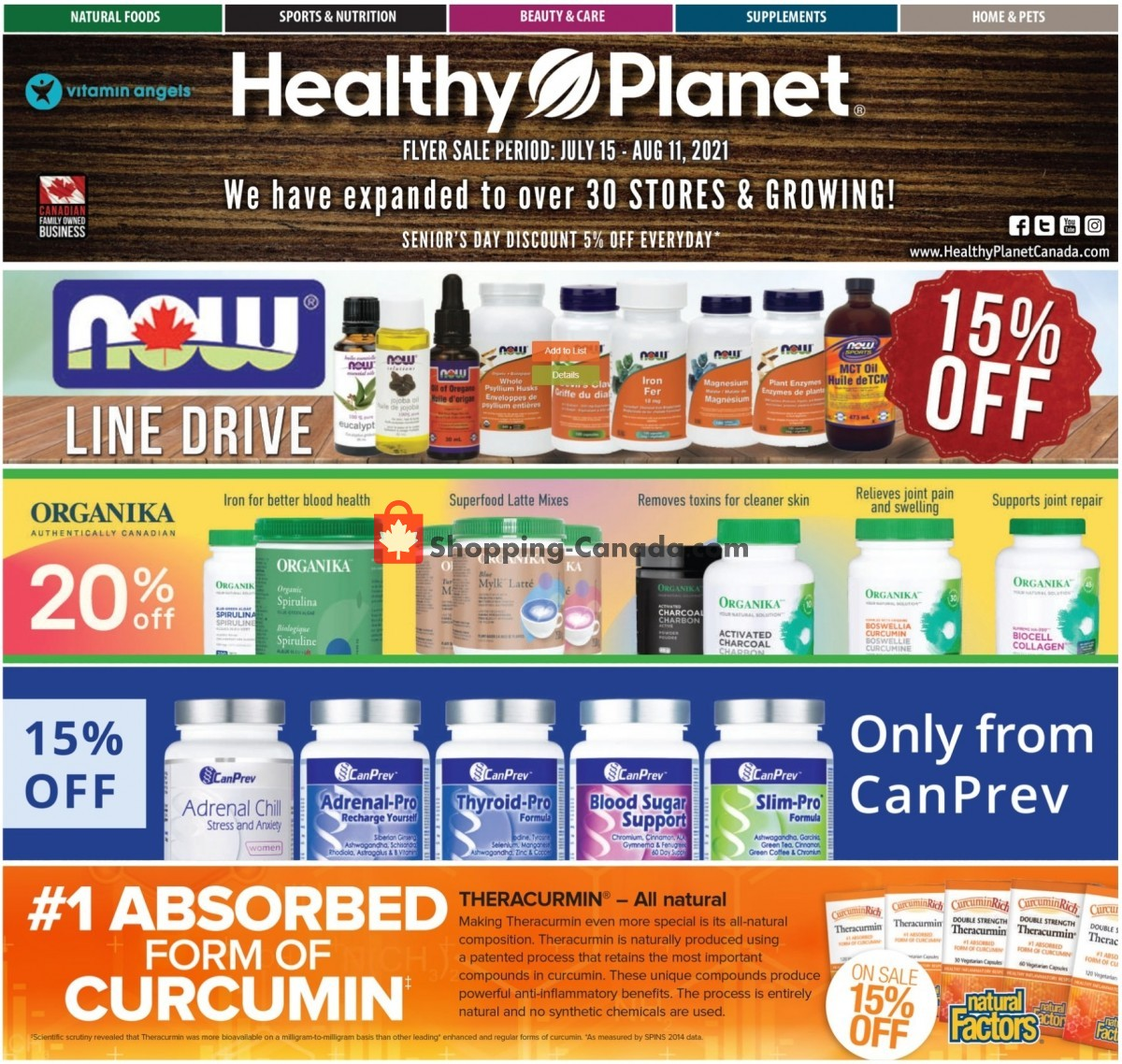 Flyer Healthy Planet Canada - from Thursday July 15, 2021 to Wednesday August 11, 2021