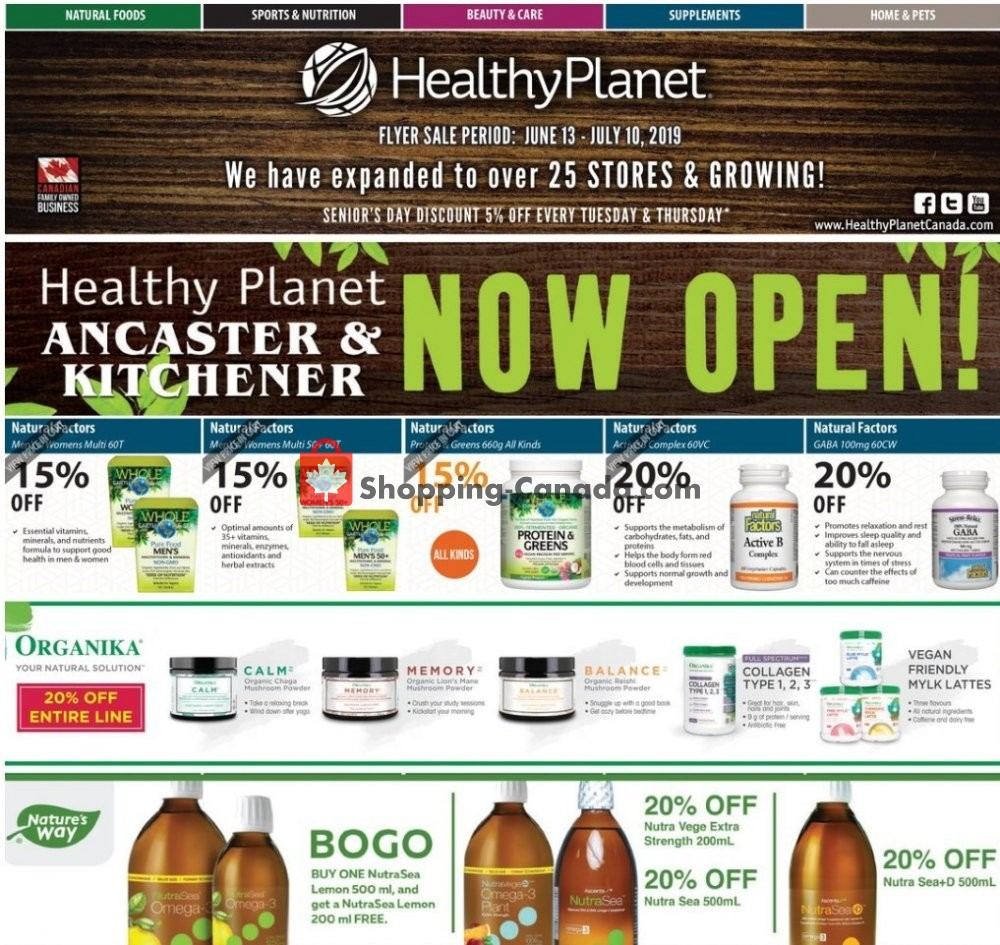 Flyer Healthy Planet Canada - from Thursday June 13, 2019 to Wednesday July 10, 2019