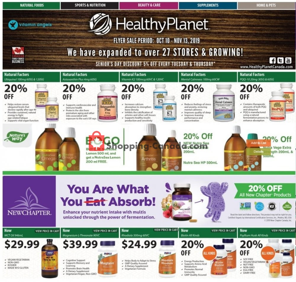 Flyer Healthy Planet Canada - from Thursday October 10, 2019 to Wednesday November 13, 2019