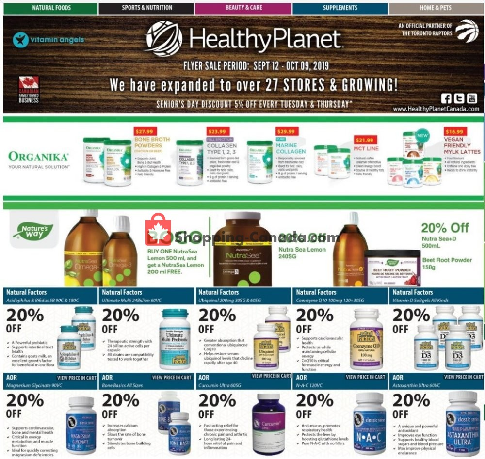 Flyer Healthy Planet Canada - from Thursday September 12, 2019 to Wednesday October 9, 2019