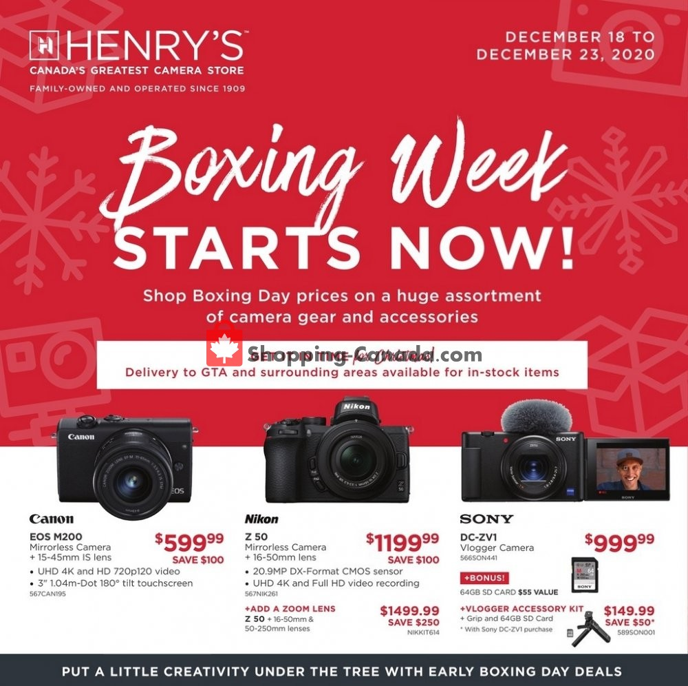 Flyer Henry's Canada - from Friday December 18, 2020 to Wednesday December 23, 2020