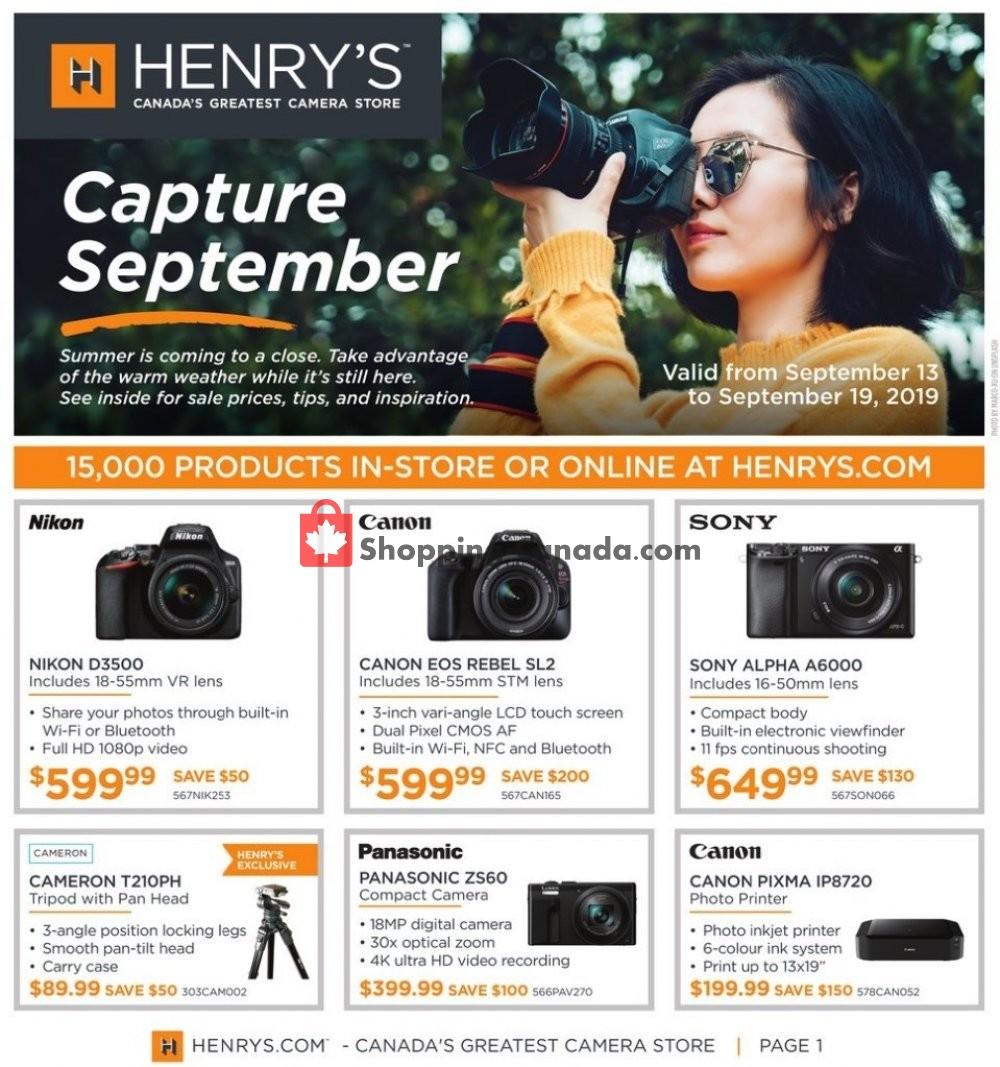Flyer Henry's Canada - from Friday September 13, 2019 to Thursday September 19, 2019