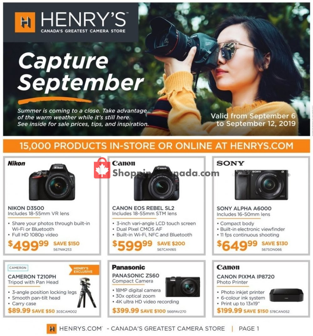 Flyer Henry's Canada - from Friday September 6, 2019 to Thursday September 12, 2019