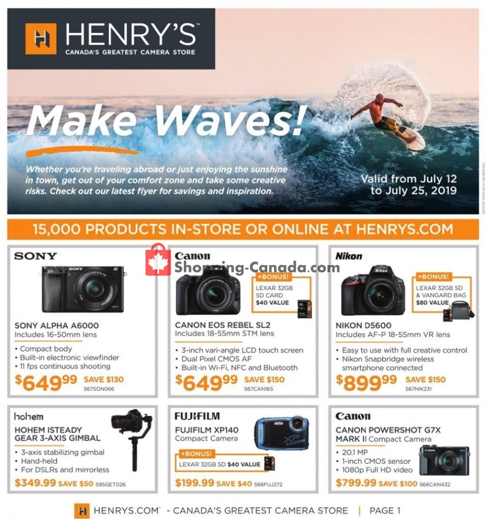 Flyer Henry's Canada - from Friday July 12, 2019 to Thursday July 25, 2019