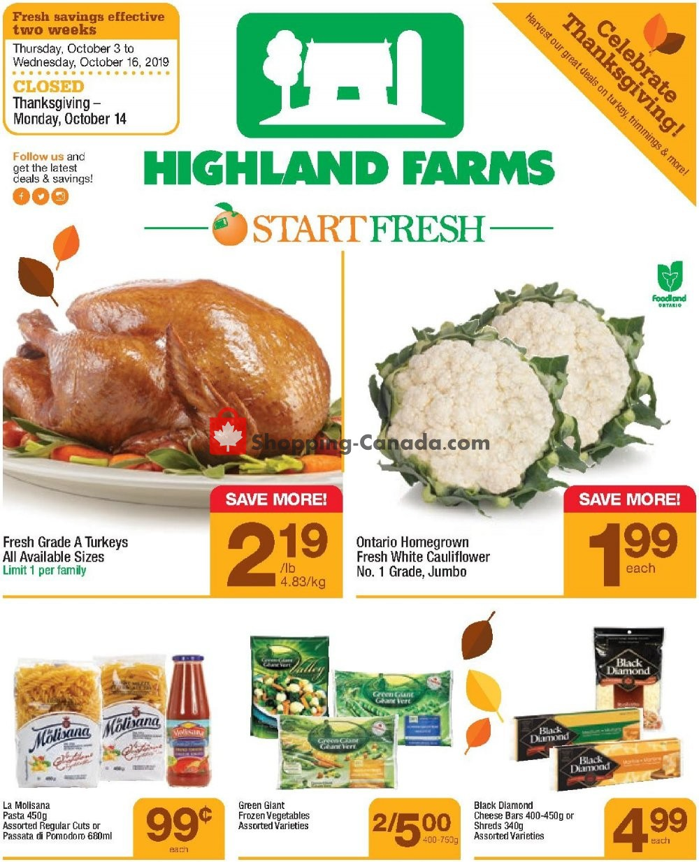 Flyer Highland Farms Canada - from Thursday October 3, 2019 to Wednesday October 16, 2019