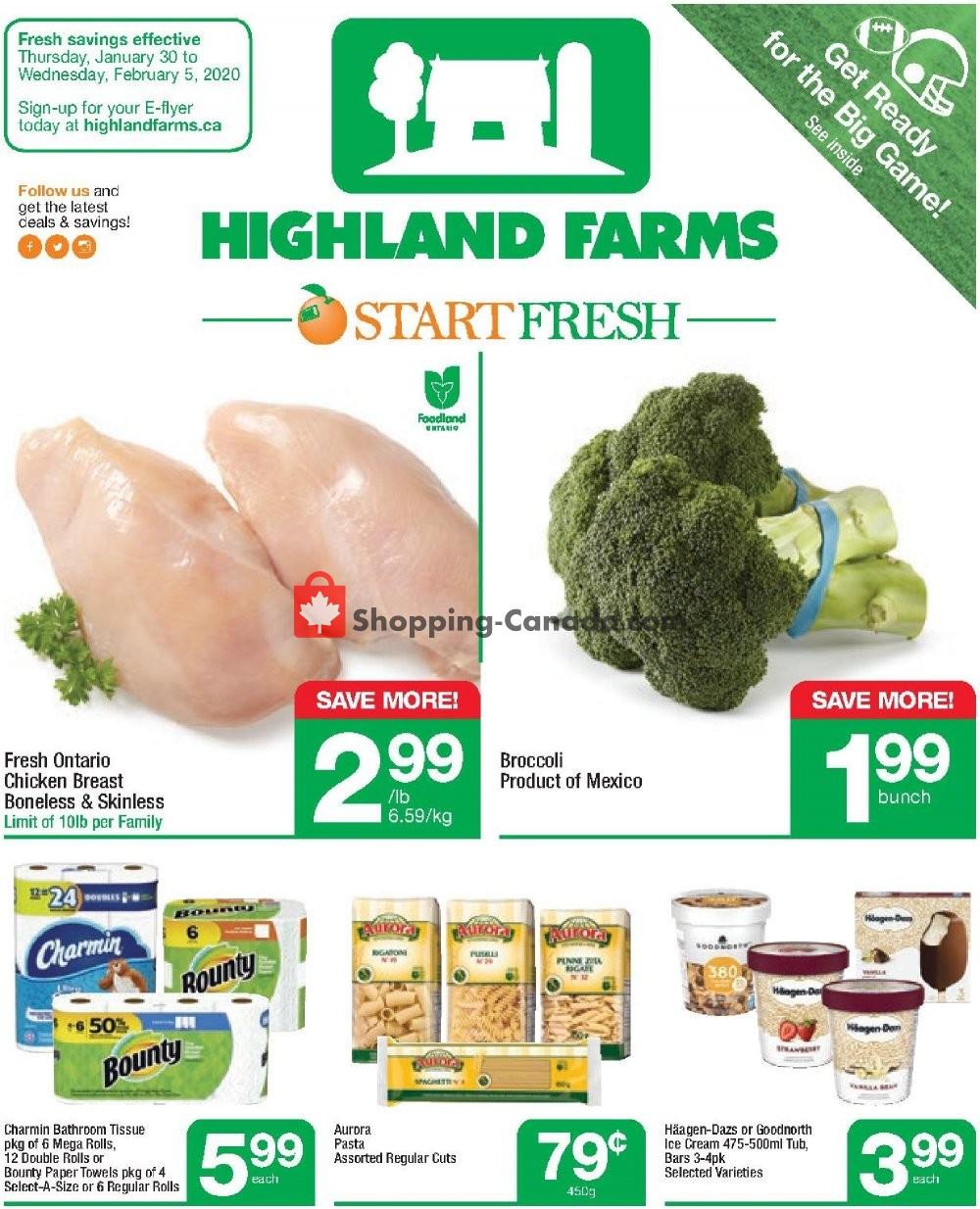 Flyer Highland Farms Canada - from Thursday January 30, 2020 to Wednesday February 5, 2020