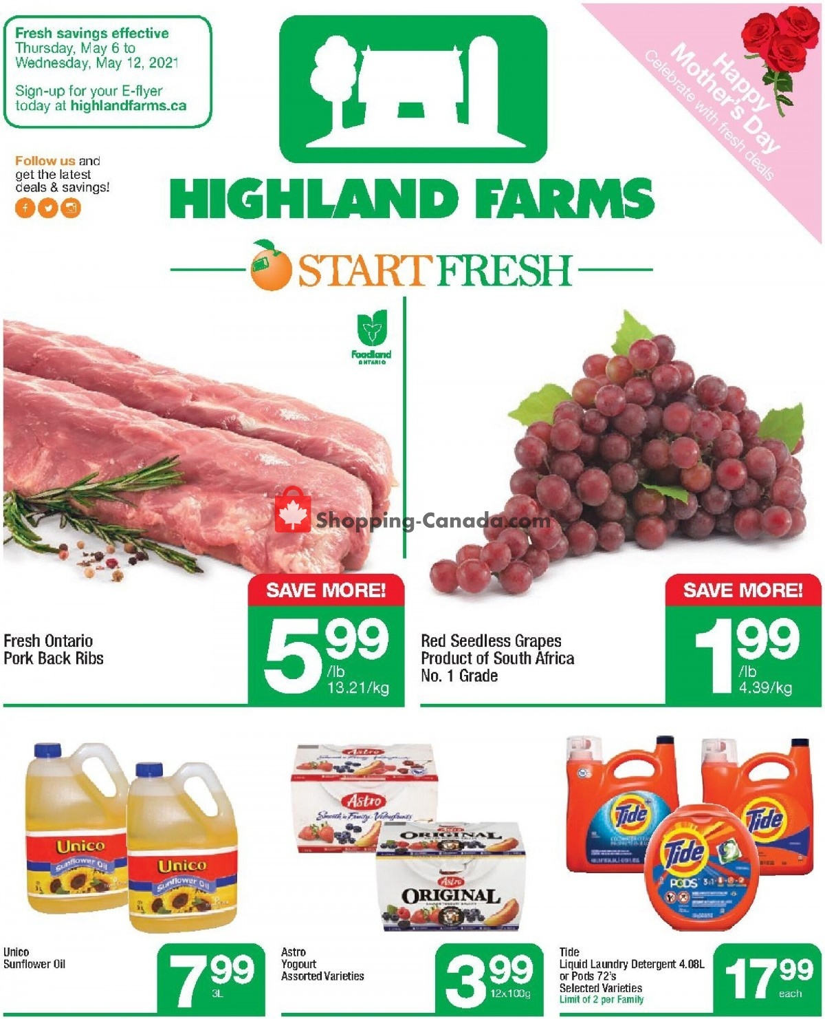 Flyer Highland Farms Canada - from Thursday May 6, 2021 to Wednesday May 12, 2021