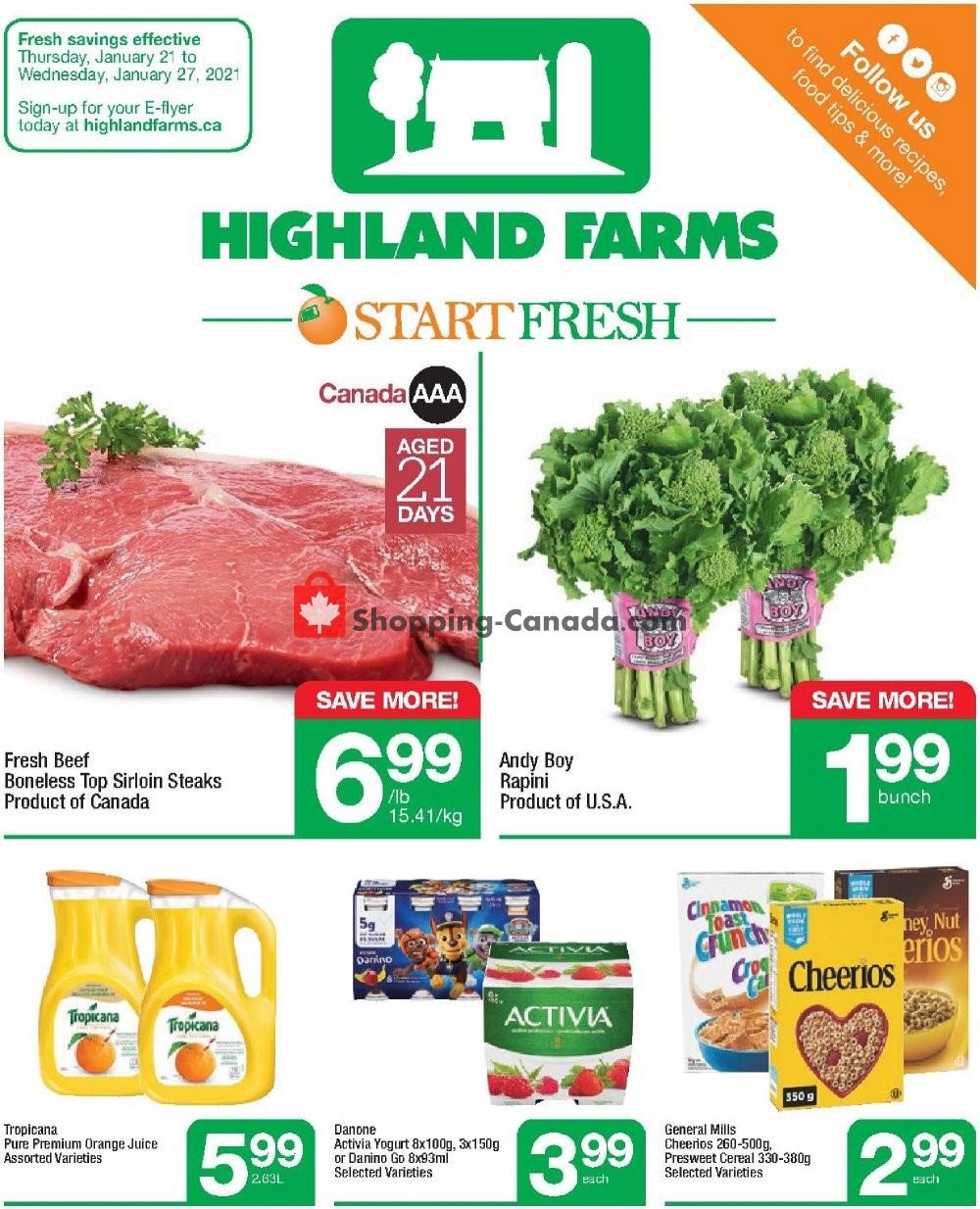 Flyer Highland Farms Canada - from Thursday January 21, 2021 to Wednesday January 27, 2021