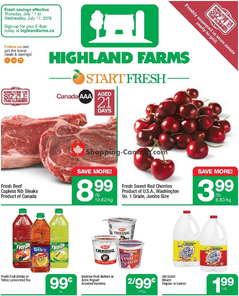 Flyer Highland Farms Canada - from Thursday July 11, 2019 to Wednesday July 17, 2019