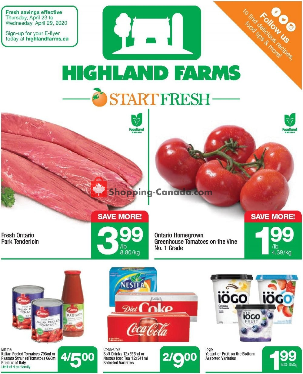 Flyer Highland Farms Canada - from Thursday April 23, 2020 to Wednesday April 29, 2020