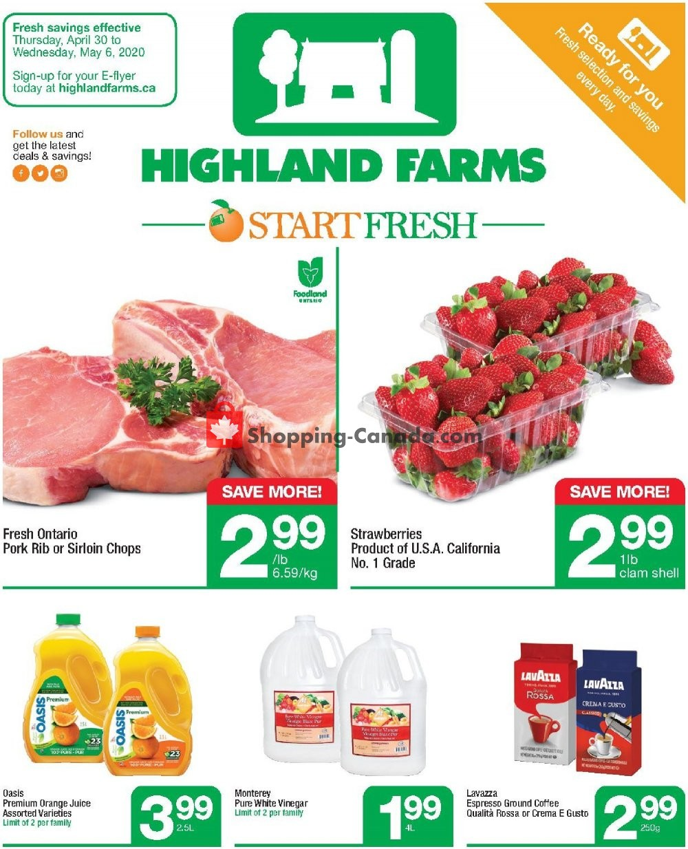 Flyer Highland Farms Canada - from Thursday April 30, 2020 to Wednesday May 6, 2020