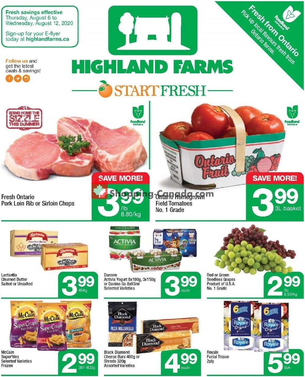 Flyer Highland Farms Canada - from Thursday August 6, 2020 to Wednesday August 12, 2020