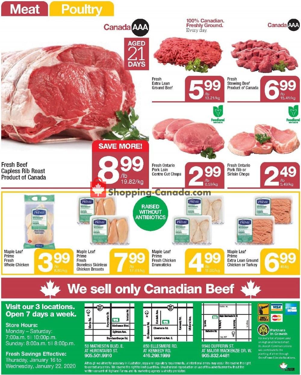 Flyer Highland Farms Canada - from Thursday January 16, 2020 to Wednesday January 22, 2020