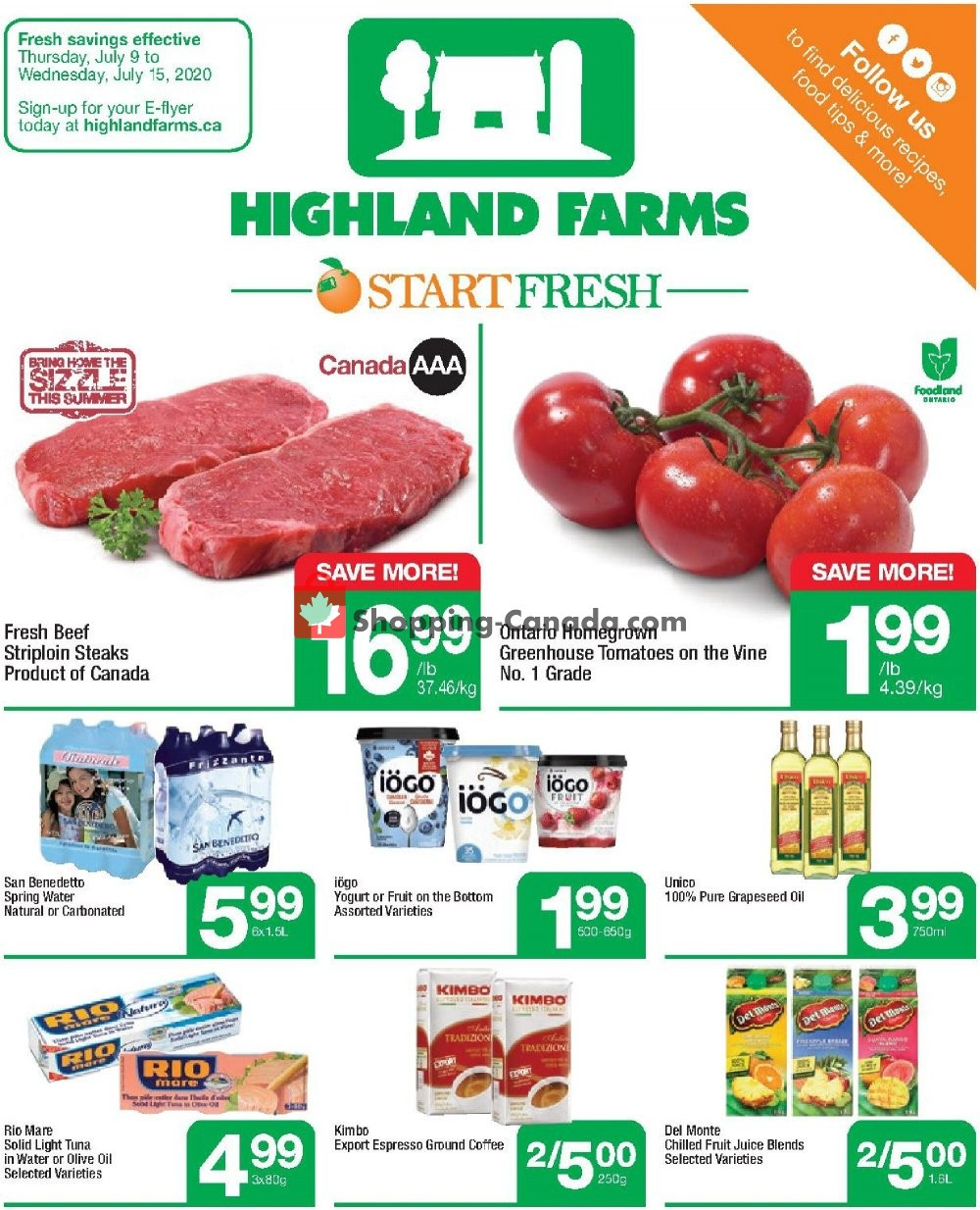 Flyer Highland Farms Canada - from Thursday July 9, 2020 to Wednesday July 15, 2020