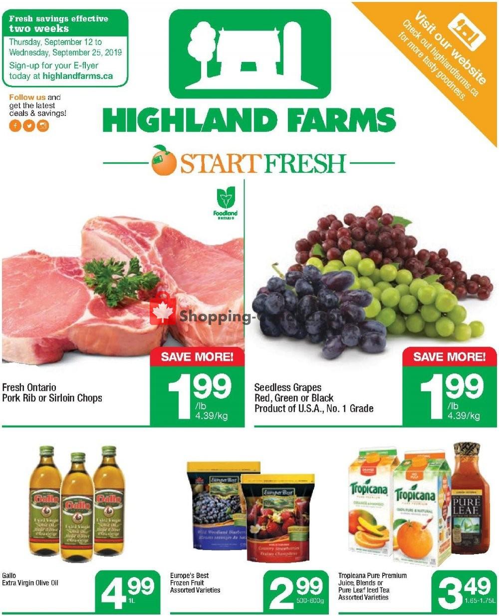 Flyer Highland Farms Canada - from Thursday September 12, 2019 to Wednesday September 25, 2019